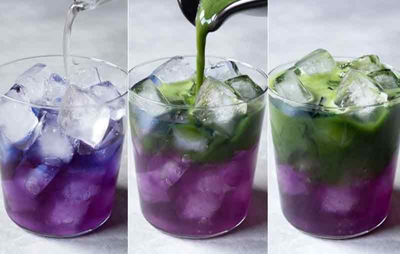 Cách pha trà matcha hoa đậu biếc. (Ảnh: Internet).